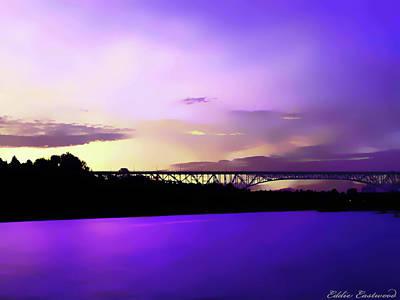 Vibrant Sunset At The Aurora Bridge In Seattle Washington Art Print