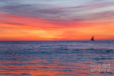 Photograph - Vibrant Sunset Over Marine Street Beach, La Jolla, California by Julia Hiebaum