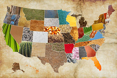 Vibrant Textures Of The United States On Worn Parchment Art Print