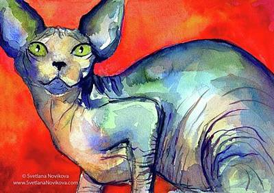 Animals Photograph - Vibrant Watercolor Sphynx Painting By by Svetlana Novikova