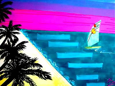 Mixed Media Painting - Vice City Sunset by April Somerdorf