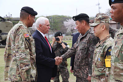 Photograph - Vice President Michael R Pence Shakes Hands With Gen Leem Ho Young by Paul Fearn