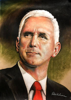 Drawing - Vice President Mike Pence Portrait by Robert Korhonen