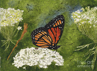 Painting - Viceroy Butterfly On Queen Anne's Lace Watercolor Batik by Conni Schaftenaar