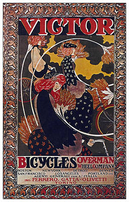 Mixed Media Royalty Free Images - Victor Bicycles - Overman Wheel Company - Vintage Advertising Poster Royalty-Free Image by Studio Grafiikka