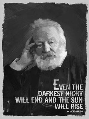 Bar Digital Art - Victor Hugo Quote Black White by After Darkness