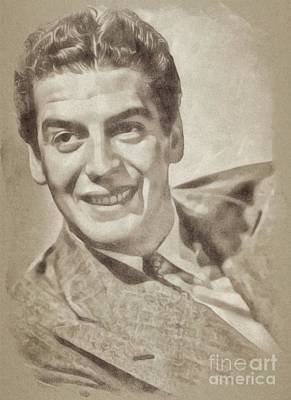 Musicians Drawings Rights Managed Images - Victor Mature, Vintage Actor by John Springfield Royalty-Free Image by John Springfield