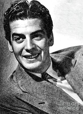 Victor Drawing - Victor Mature, Vintage Actor By Js by John Springfield