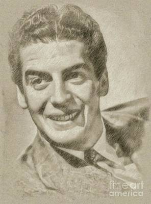 John Wayne Drawing - Victor Mature Vintage Hollywood Actor by Frank Falcon