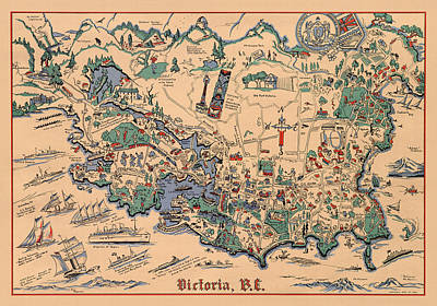 Royalty-Free and Rights-Managed Images - Victoria, British Columbia - Vintage Illustrated Map - Historical Map - Pictorial Map by Studio Grafiikka