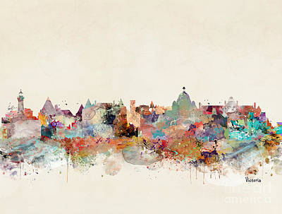 Painting - Victoria Canada Skyline by Bri B