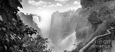 Photograph - Victoria Falls Africa Black And White by Tim Hester