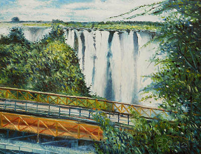 South African Artist Painting - Victoria Falls Zimbabwe 2012 by Enver Larney