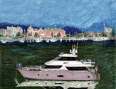 Painting - Victoria Harbor Yachting by Jack Pumphrey