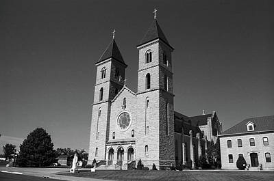 Art Print featuring the photograph Victoria, Kansas - Cathedral Of The Plains 6 Bw by Frank Romeo