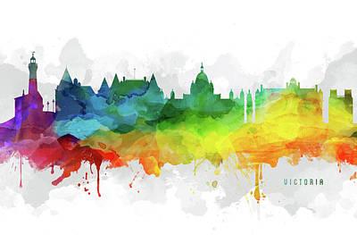 British Digital Art - Victoria Skyline Mmr-cabcvi05 by Aged Pixel