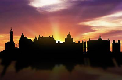 Victoria Digital Art - Victoria Skyline Sunset Cabcvi22 by Aged Pixel