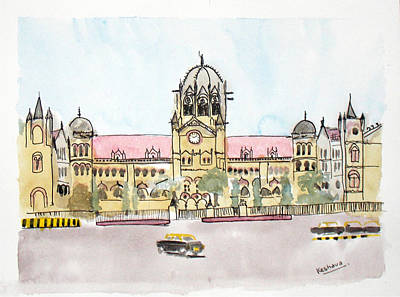 Painting - Victoria Terminus by Keshava Shukla