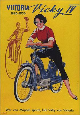 Mixed Media - Victoria Vicky IV - Motorcycle - Vintage Advertising Poster by Studio Grafiikka