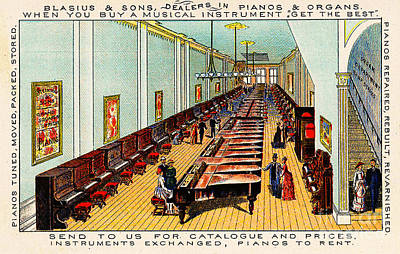 Painting - Victorian 1880s Advertisement For Blasius And Sons Piano Store Interior Philadelphia by Unknown