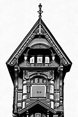 Drawing - Victorian Architecture Details Turret  by Edward Fielding