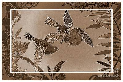Victorian Birds In Sepia Art Print by Carol Groenen