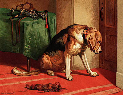 Painting - Victorian Bloodhound Mastiff Waiting by sir Edwin Landseer