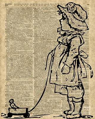 Victorian Digital Art - Victorian Child On A Dictionary Page by Jacob Kuch