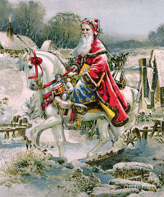 Victorian Christmas Card Depicting Saint Nicholas Print by English School