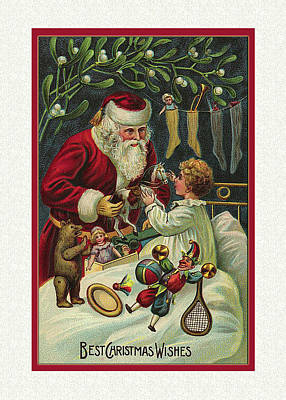Photograph - Victorian Christmas Card Santa by Denise Beverly