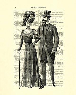 Edwardian Woman Digital Art - Victorian Couple by Madame Memento