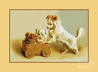 Puppies Playing Drawing - Victorian Cute Small Dogs In Wooden Toy Cart by Heidi De Leeuw