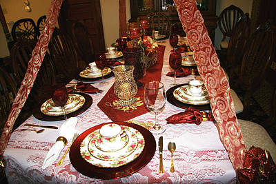 Photograph - Victorian Dishware On Decorated Christmas Table by Amelia Painter