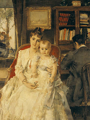 Caring Mother Painting - Victorian Family Scene by Alfred Emile Stevens