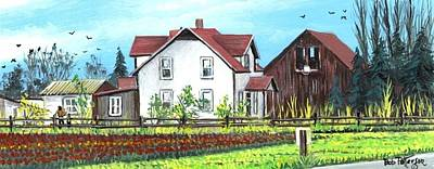 Washington State Skagit County Painting - Victorian Farm House Tulip Farm by Bob Patterson