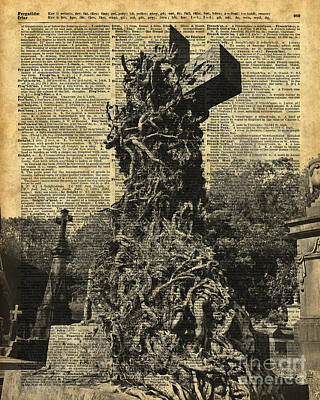 Halloween Artwork Mixed Media - Victorian Gothic Graves Over Antique Dictionary Book Page by Jacob Kuch