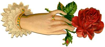 Digital Art - Victorian Hand And Rose by Marianne Dow