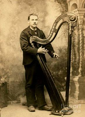 Photograph - Victorian Harpist St Louis Missouri Saettele Studio 1885 by Peter Gumaer Ogden Collection