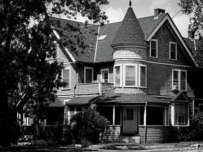 Photograph - Victorian House In Black And White Photography by Ann Powell