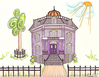 Victorian House In Lavender -- Stylized Architectural Drawing Of Victorian House Original