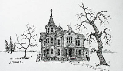 Drawing - Victorian House by Jack G Brauer