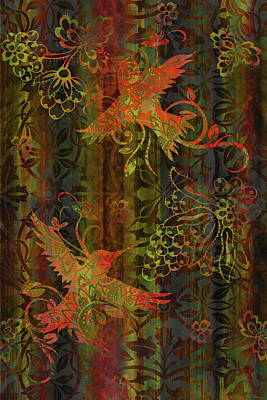 Quilted Tapestries Painting - Victorian Humming Bird 3 by JQ Licensing