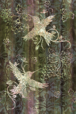 Rug Painting - Victorian Hummingbird Green by JQ Licensing