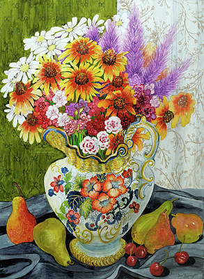 Cherry Blossoms Painting - Victorian Jug With Mixed Flowers,pears And Cherries by Joan Thewsey