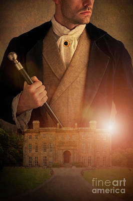 Photograph - Victorian Man With A Historical Mansion House by Lee Avison