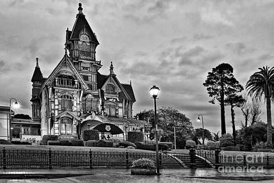 Carson Mansion Photograph - Victorian Mansion Night by Jamie Pham