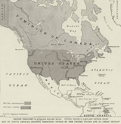 North Drawing - Victorian Map Of North America Showing Territory Owned By The United States And By Great Britain  by English School
