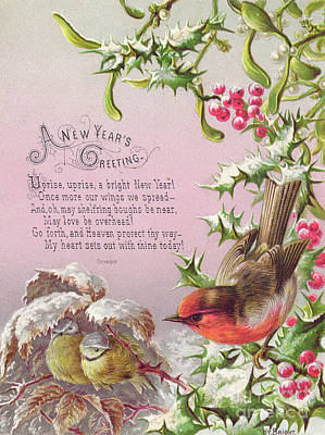 Victorian New Year Card Of A Robin And Two Birds In A Snowy Scene Art Print