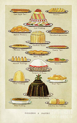 Baking Mixed Media - Victorian Puddings And Pastry by Sharon Kingston