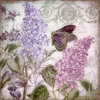 Purple Flowers Painting - Victorian Romance II by Mindy Sommers